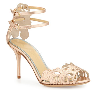 "Blush/gold fancy shoe to pair with your wedding dress.  For something different.   Secure √ ::   Material √ ::   3.25"" instep √"