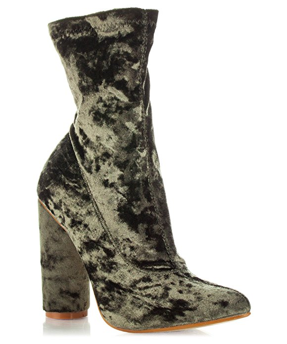 Room Of Fashion - $44.99 I LOVE olive green, and with the velvet hitting light in different spots, it gives this bootie a rugged, almost army GLAM kind of look.
