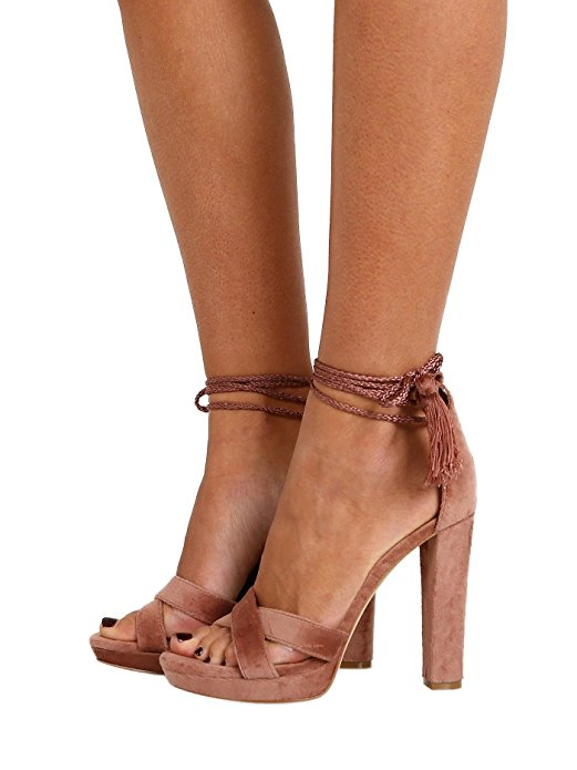 "Joie ""Nadav"" - $248 Nude velvet - shine on with yo' bad self! I love the simplicity mixed with the tied in ankle strap and then the touch of pop with the tassle."