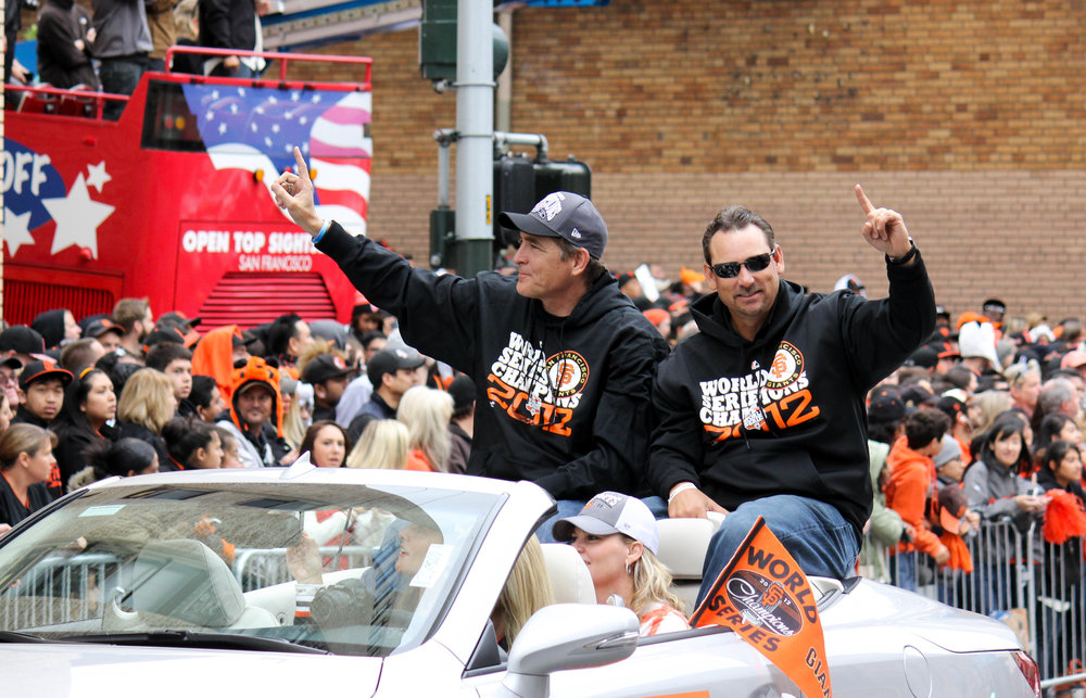 Dave Righetti, pictured here with Mark Gardner celebrating the Giants 2012 World Series win. Photo: cc/Michael Marconi
