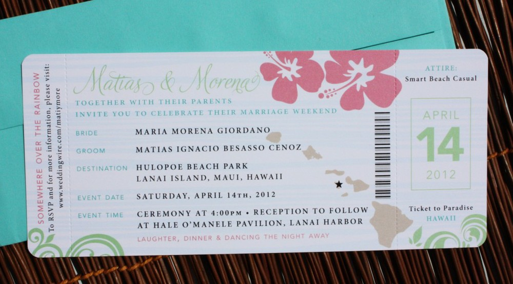 Pink-Green-Turquoise-Swirl-and-Hibiscus-Airline-Ticket-Wedding ...