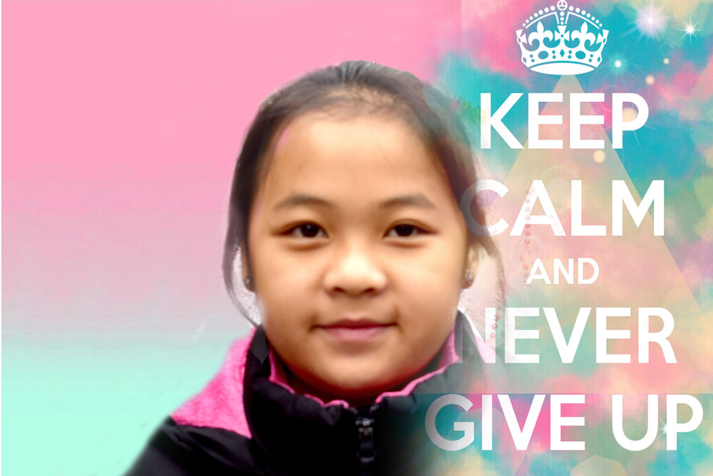 "I made this picture and then printed it as a poster.  I made one for my room, one to give to my mom and one to give to my teacher.  I chose the phrase ""keep calm and never give up"" because it reminds me to stay focused on my school work..... (need to finish)"
