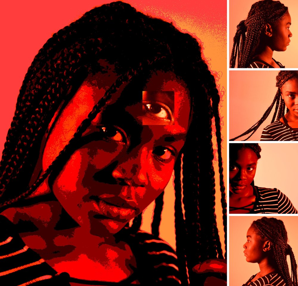"SIGHT WITHIN   – Digitally Manipulated Portrait Collection by Sadie Hill Jones   © 2017  To be a young African American woman means to see and experience the world in a way that is very different than ""white"" or so-called ""normal"" teenagers.  We grow up being taught about racism and as kids we never really think that we will have to face it ourselves.  But as we move from child to adult, the differences between us and others become so vivid, and the anger of oppression begins to rise.  As teenagers we stay quiet – watching and learning - often unable to speak to what we know is not just.  We see the adults we hold high, sent to jail for speaking out, or watch them get killed for no ""apparent"" reason.  We see how the world will unfold for us once we grow up and are seen by others as a ""threat"".  We see, but we don't speak because there are two un-ending questions for which we have never heard an answer: ""Why do we get treated differently because of our skin color?""  ""Are we not all human?"""