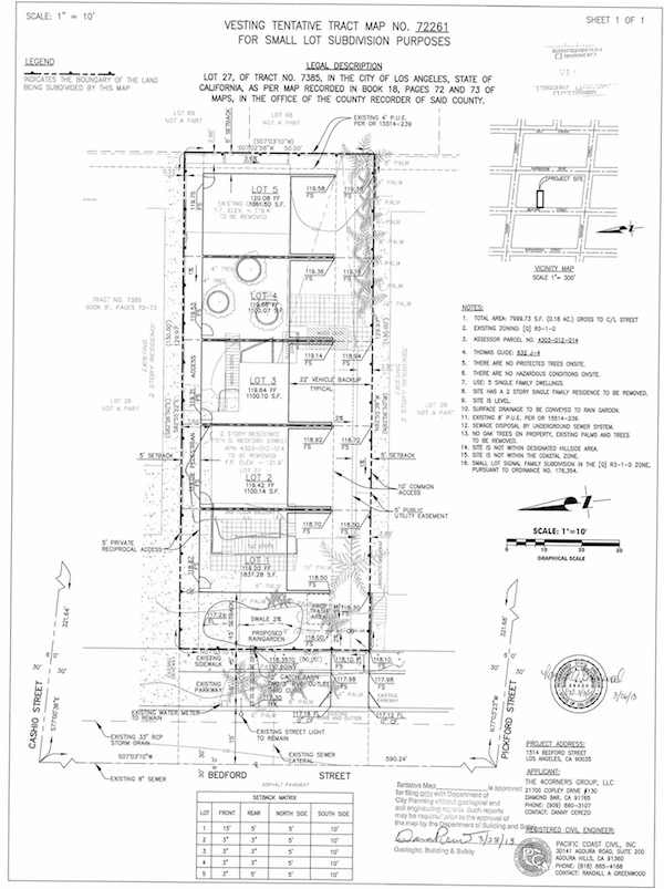 Approved Vesting Tentative Tract Map: Bedford 5-Unit Residential Homes
