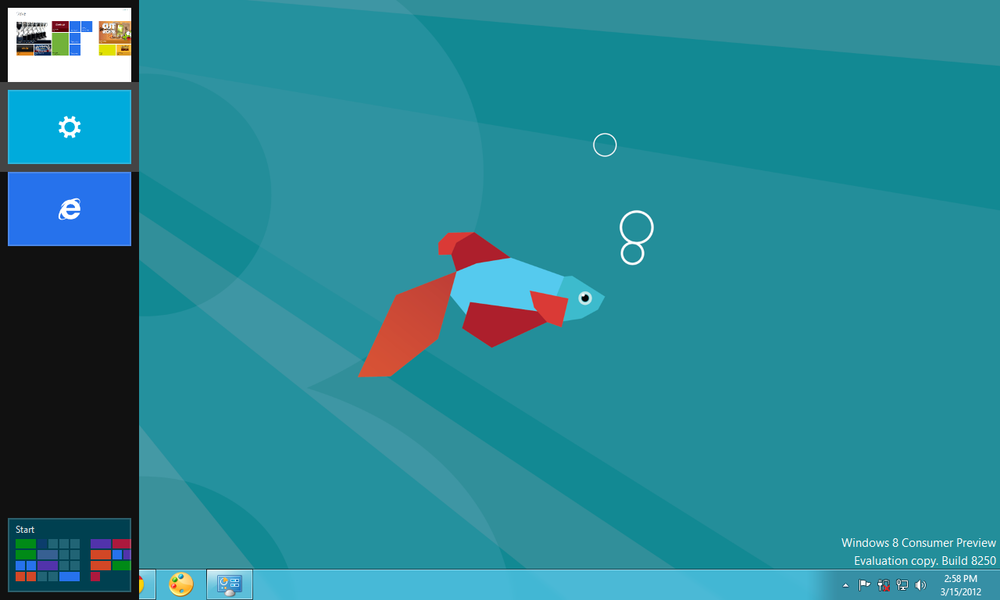 The app-switching bar, on the far left, lets you access Windows 8 apps from anywhere in Windows 8, including the desktop.