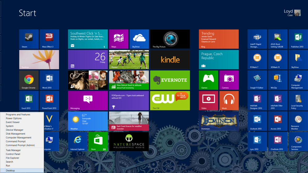 Simple Start menu pops up a list of system tools wherever you are in Windows 8.