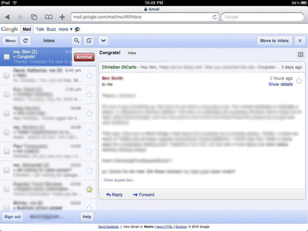 Old Gmail on the iPad