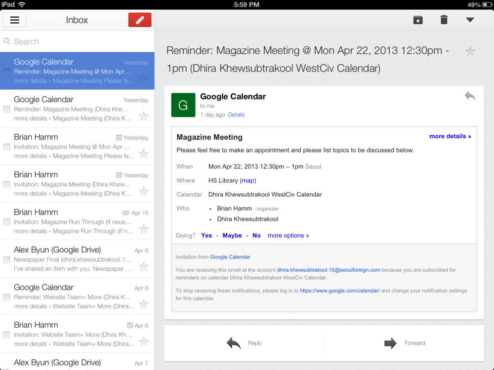 Tthe natively designed Gmail application for iOS