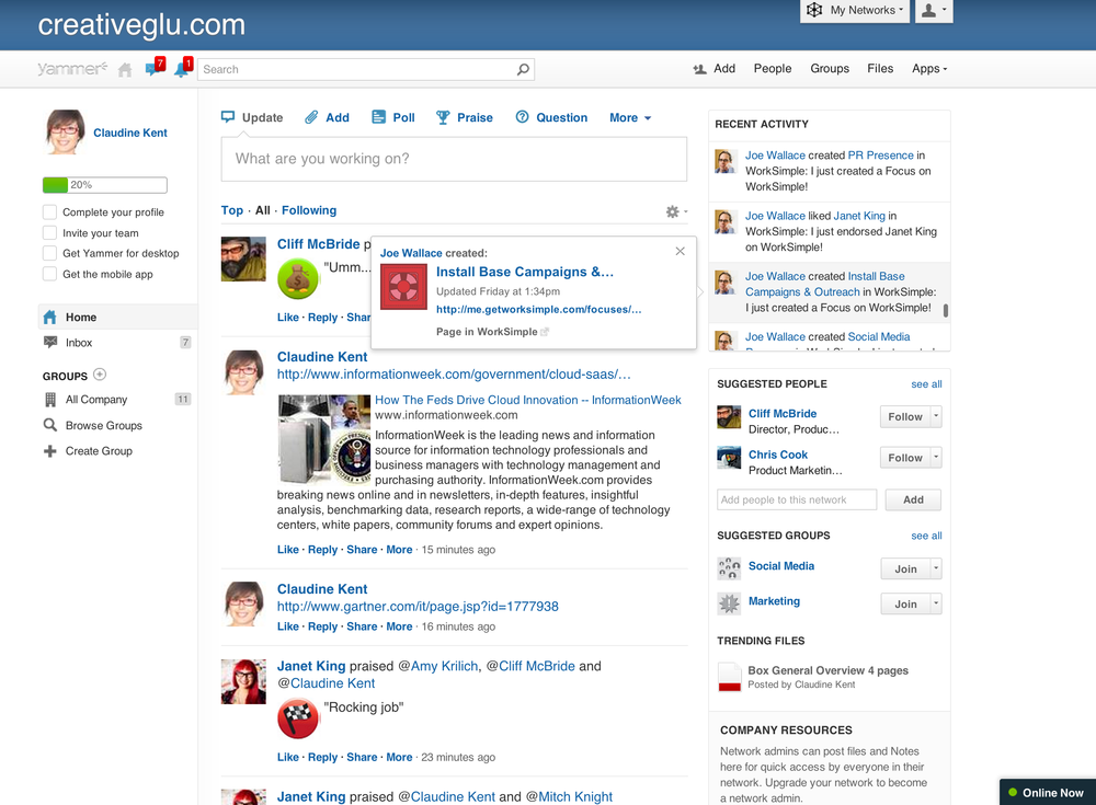 WorkSimple Yammer Integration - Social Goals in Activity Stream.png
