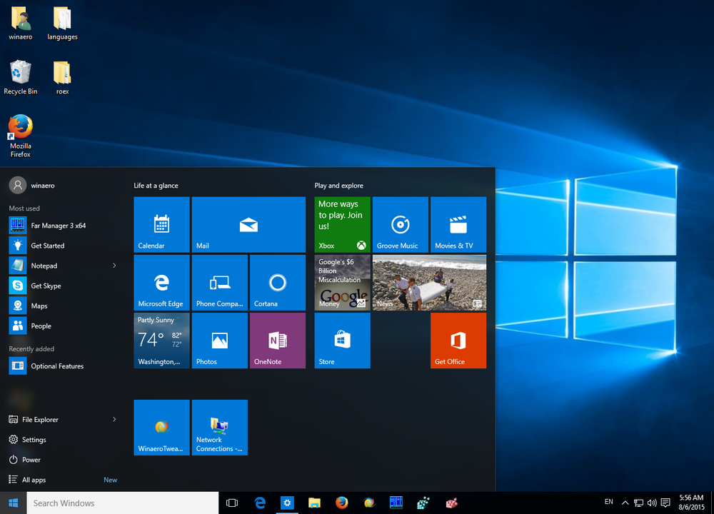 The new start menu
