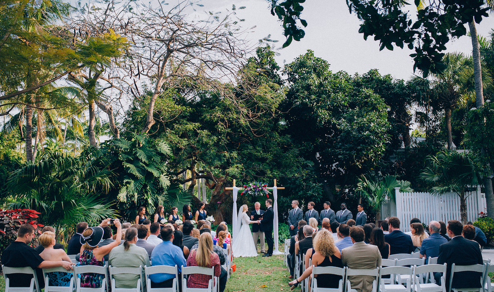 Wedding ceremony on Truman Little White House backyard