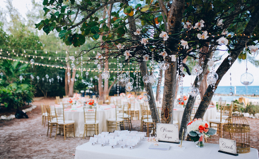 Wedding reception on Fort Zachary Taylor Park decorated by Duarte