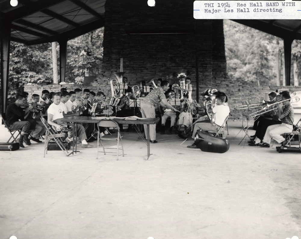 Territorial Music Institute (TMI) 1954, Rec Hall Band rehearsing with Major Leslie Hall. Camp Grandview, Jasper, GA.