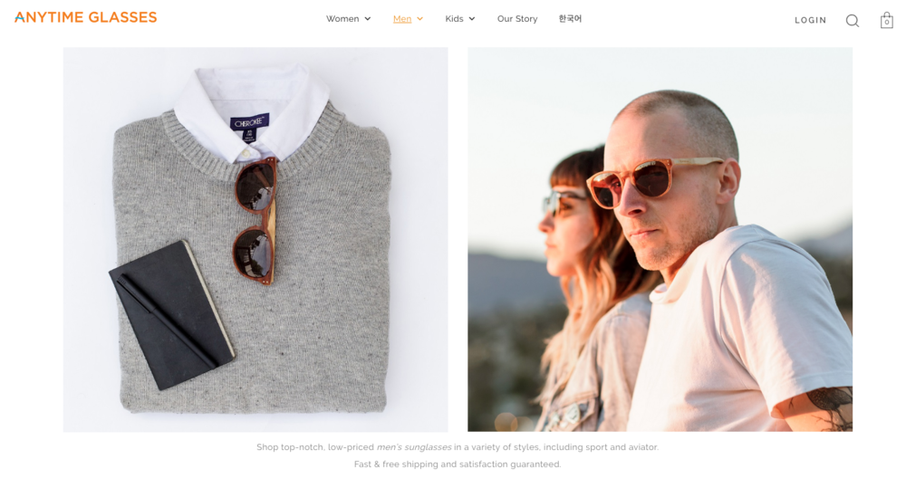 eyewear flatlay and couple in sunglasses by Ryan Pavlovich for Anytime Glasses