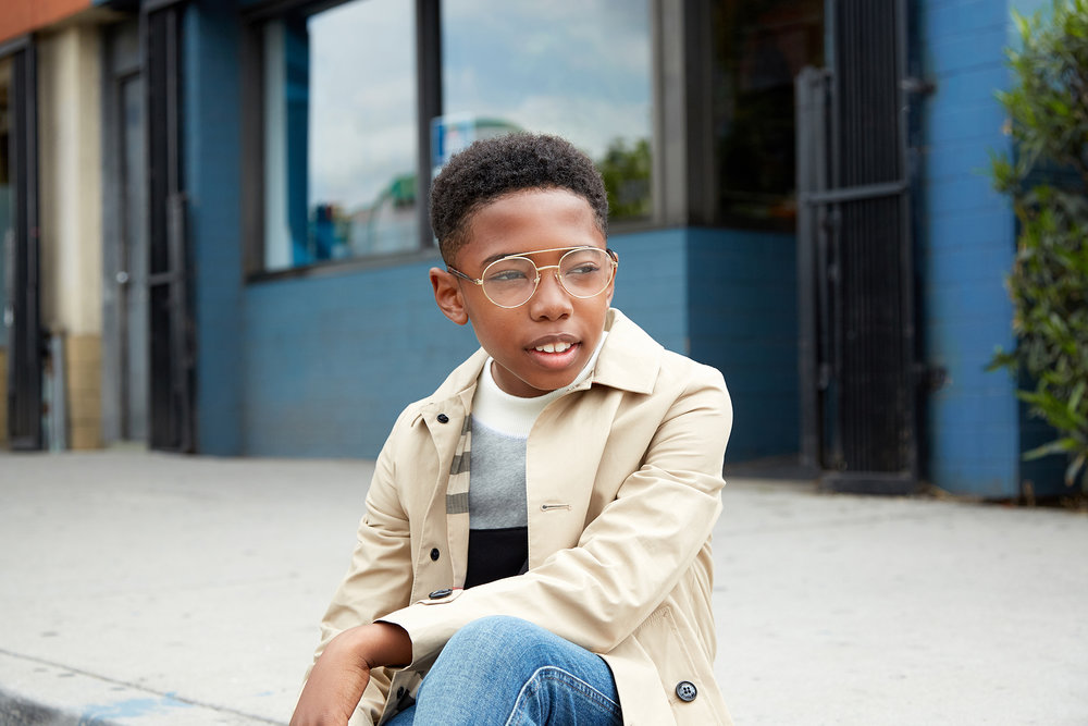 Seth Carr for Posh Kids Magazine  featuring:  Trench Coat: Burberry Sweater: Burberry Denim: Gucci Shoes: Florsheim Glasses: Retrosuperfuture  Grooming - Renee Loiz  Styling - Angelique Fortuna  Photography - Ryan Pavlovich