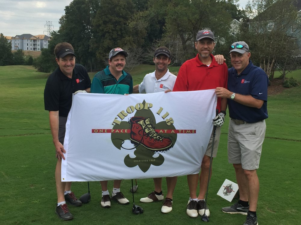 PDG guys with Troup 118 sign at golf outing.jpg