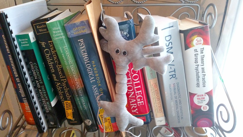 My plush neuron, Oliver (named for Oliver Sachs)
