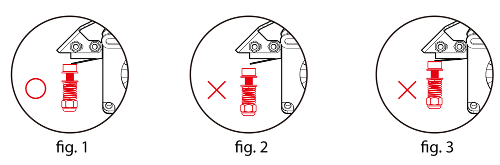 螺絲恰好輕觸微動開關。                  螺絲沒有碰觸微動開關。                   螺絲碰觸微動開關過深。