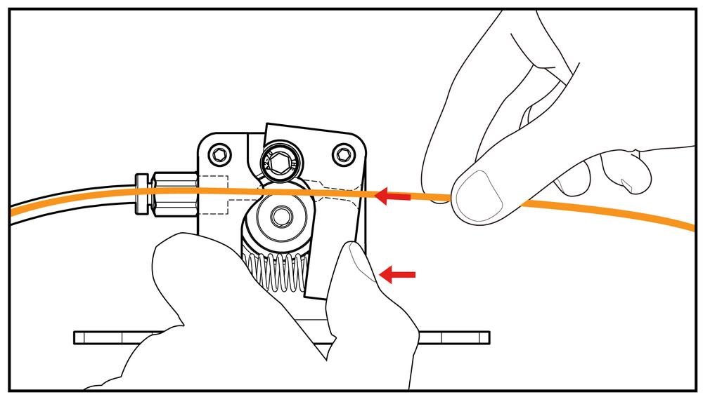 按住進料手臂,將PLA料推入進料機構中