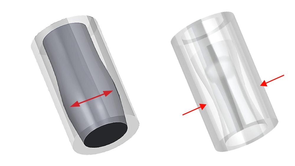 Fig. 1                Fig. 2   PLA料因熱膨脹卡在管內  鐵氟龍管因過熱變形