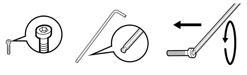 內六角螺絲使用有球頭六角扳手               裝配時施力方向