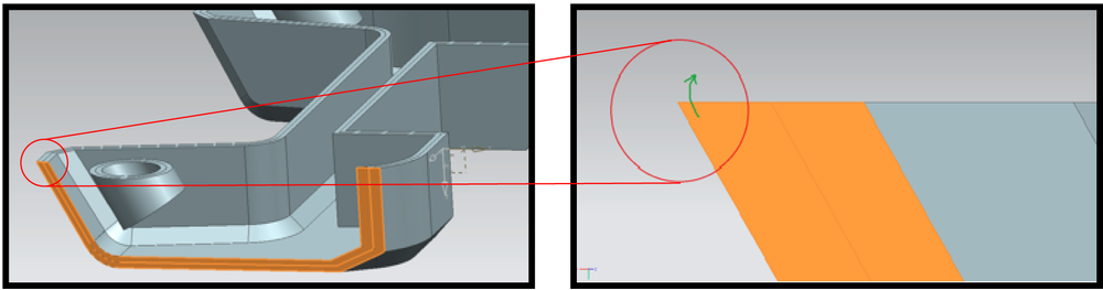 Fig. 3 Cart.stl 的剖面圖                            Fig. 4 前端尖角可能會因過熱產生翹曲