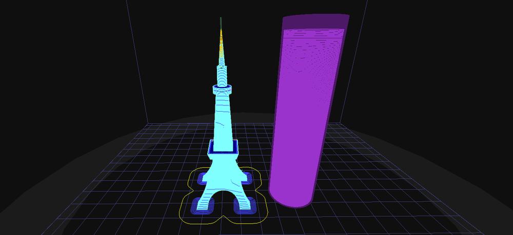 Fig. 2 艾菲爾鐵塔模型切片 (包含開啟 [Raft] & [Prime Pillar])