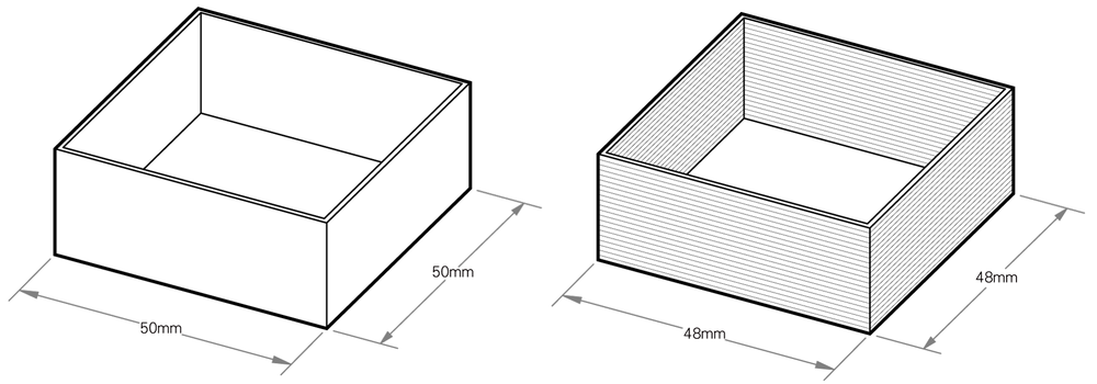 fig.1 - Original 3D Model Dimensions                                    fig.2 - Printed Model Measurements Are Off