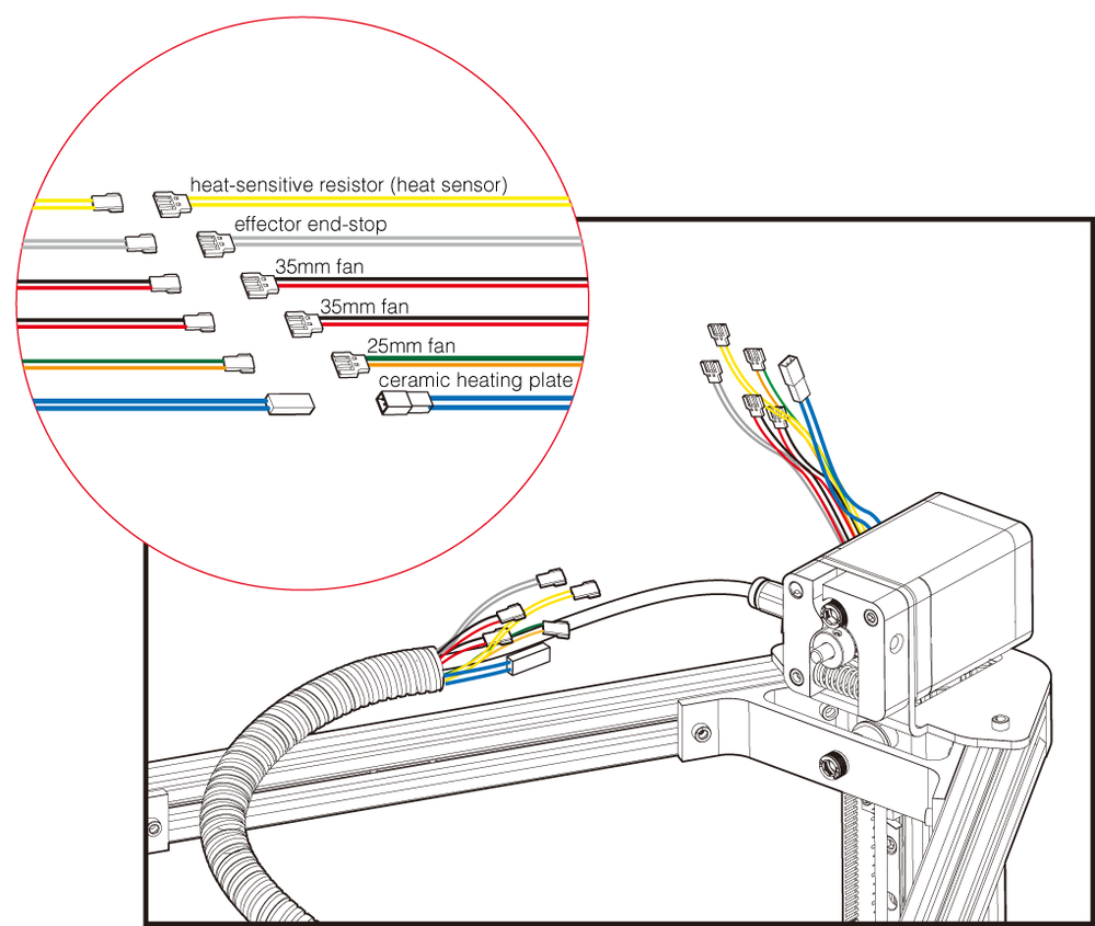 fig.1 - Wire Connections At The Top Of The Printer