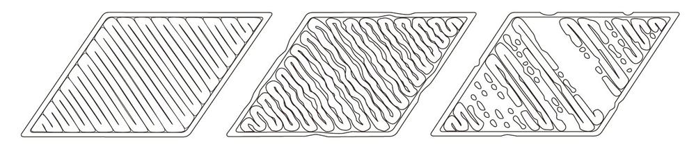 fig.1 正常列印狀態              fig.2 料不均勻且沒黏住底板         fig.3 噴頭太低無法出料導致間隙產生