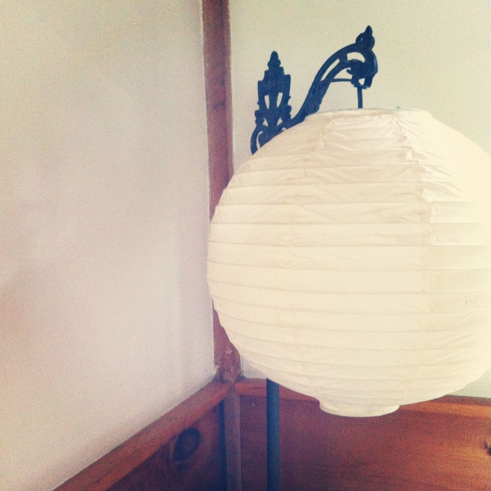 Mom's Victorian style lamp with paper shade.