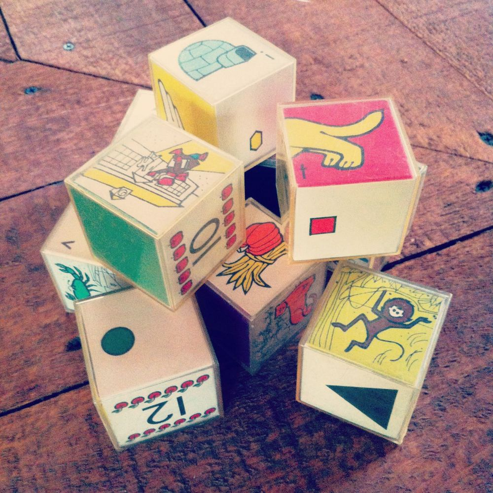 60's alphabet blocks we bought for our younger visitors.