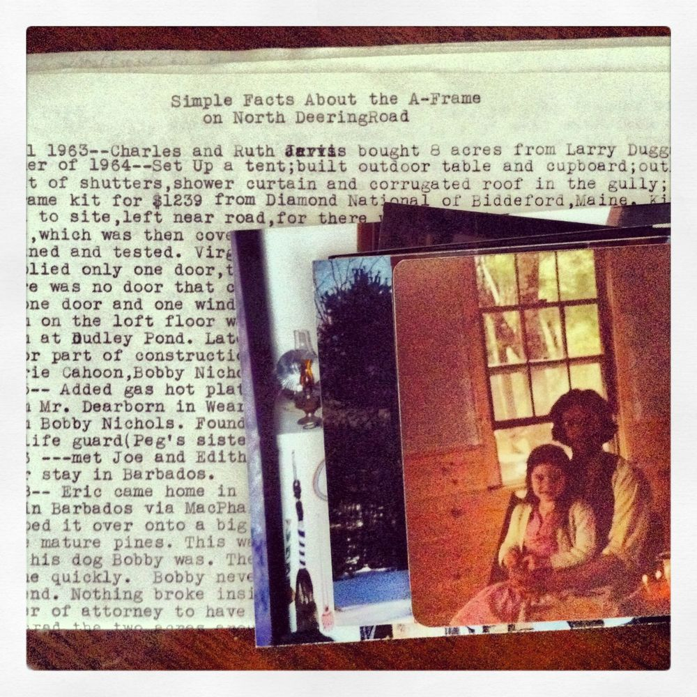 My grandmother kept a diary of work they did to the A-Frame over the 40 years they used it. The A-Frame was a kit that they purchased for $1239. That's a picture of my dad and me in the recently added dining room in the early 80's.