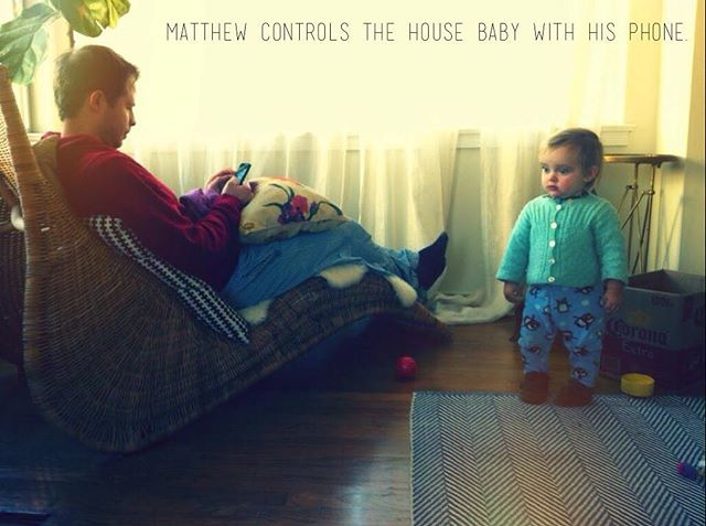 Matthew controls the House Baby with his phone. #housebaby #otherpeoplesbabies #therobotsarecoming #vsco #vscocam