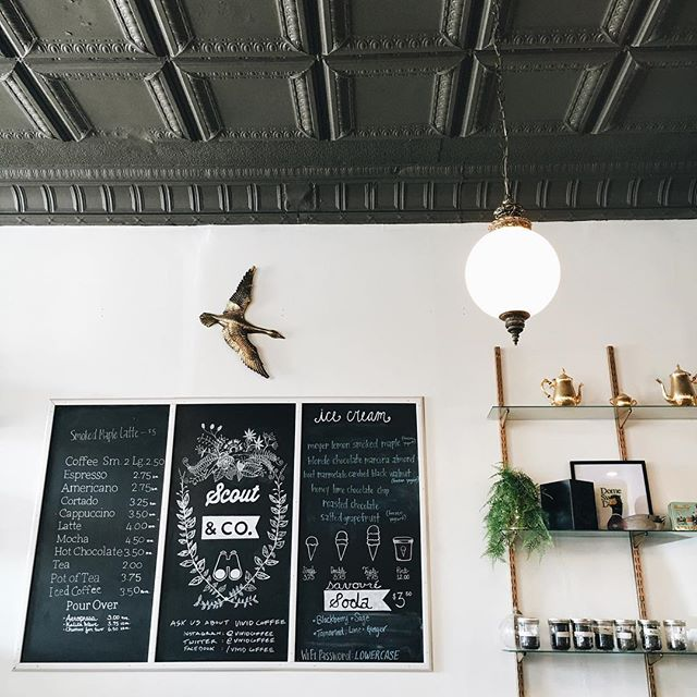 This cafe is very easy on the eyes. #ilikeitwhenthingslookpretty #cafedesign #interiordesign #tinceiling #scoutandco #winooski