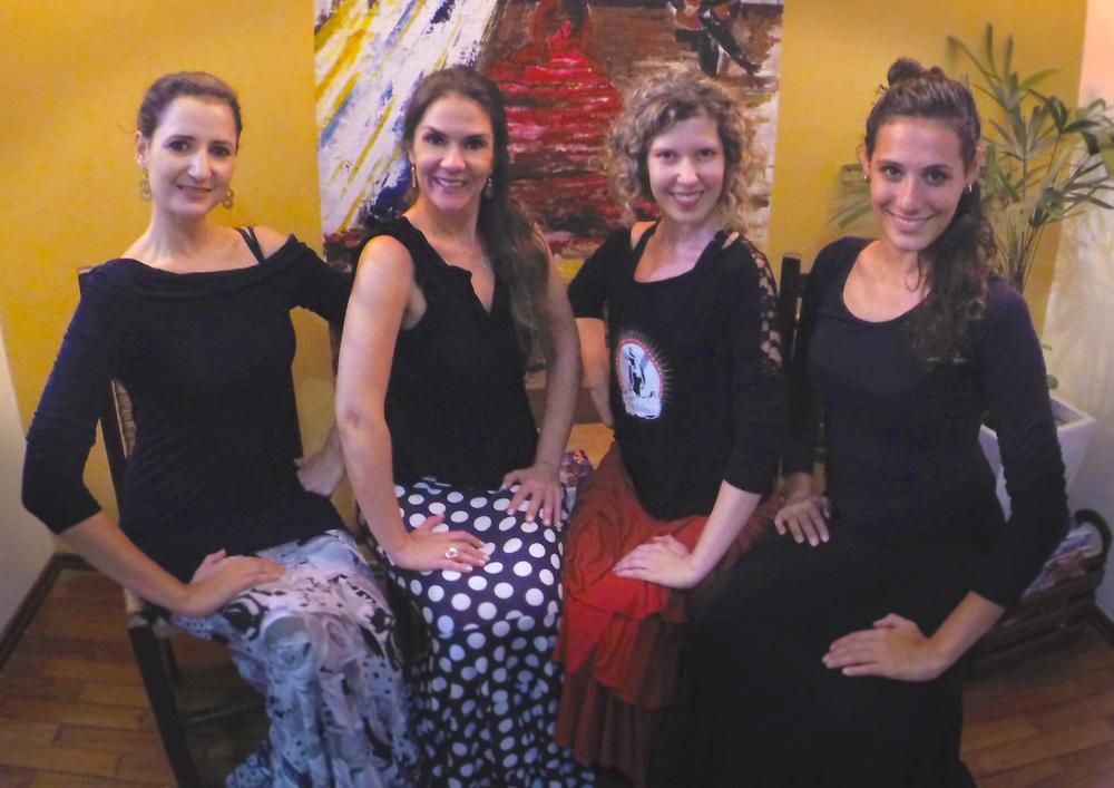 My teachers of Café Tablao Cultural and Flamenco Center. Marília Cesarino, Karina Maganha, me and Marina Merheb. (Personal archive photo)