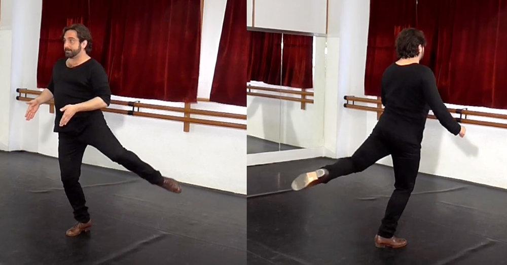 Bata de cola technique   'attitude' position of the leg
