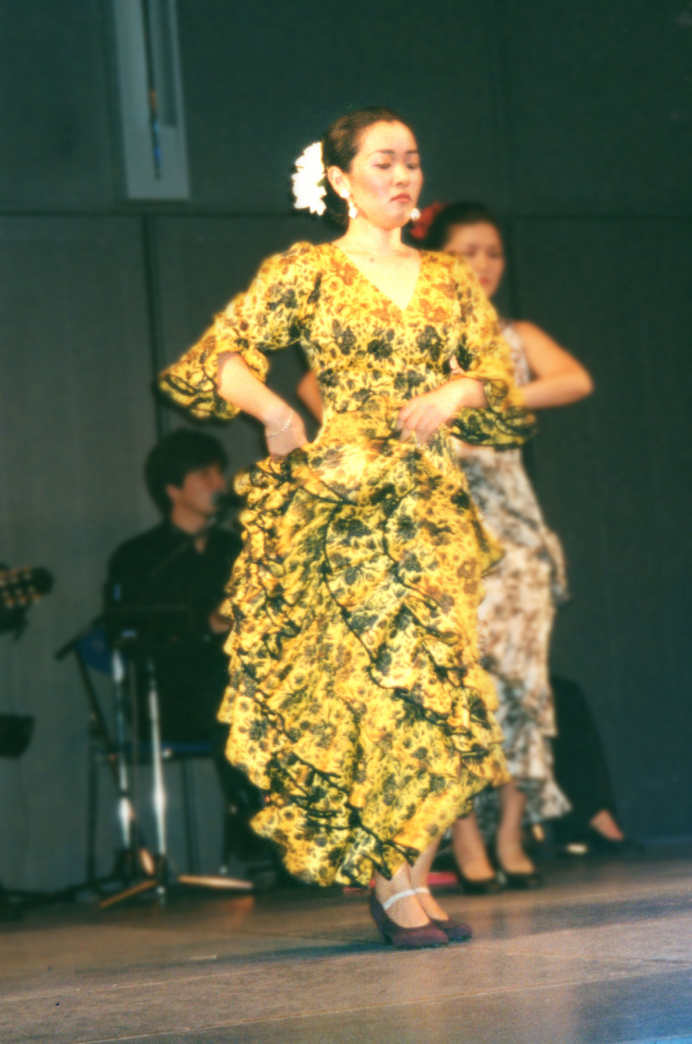 Chie dancing at her first performance in Tokyo.