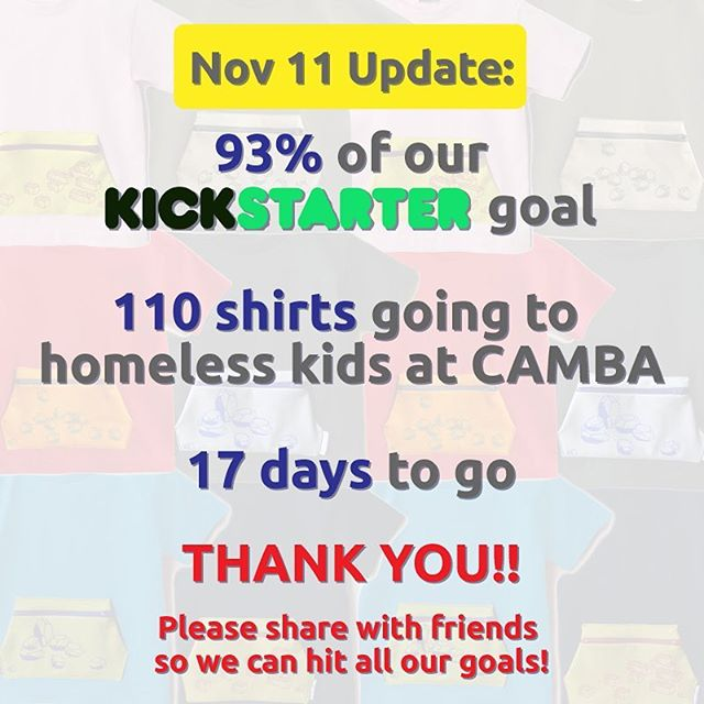 We are so thankful to all of you who are supporting us. Most touching is knowing that we already have 110 PockeTeez™ shirts going to kids in @cambainc family shelters. If you'd like to send these shirts to a shelter in your community, please check out our @kickstarter campaign. Cheers, Hatch Things!