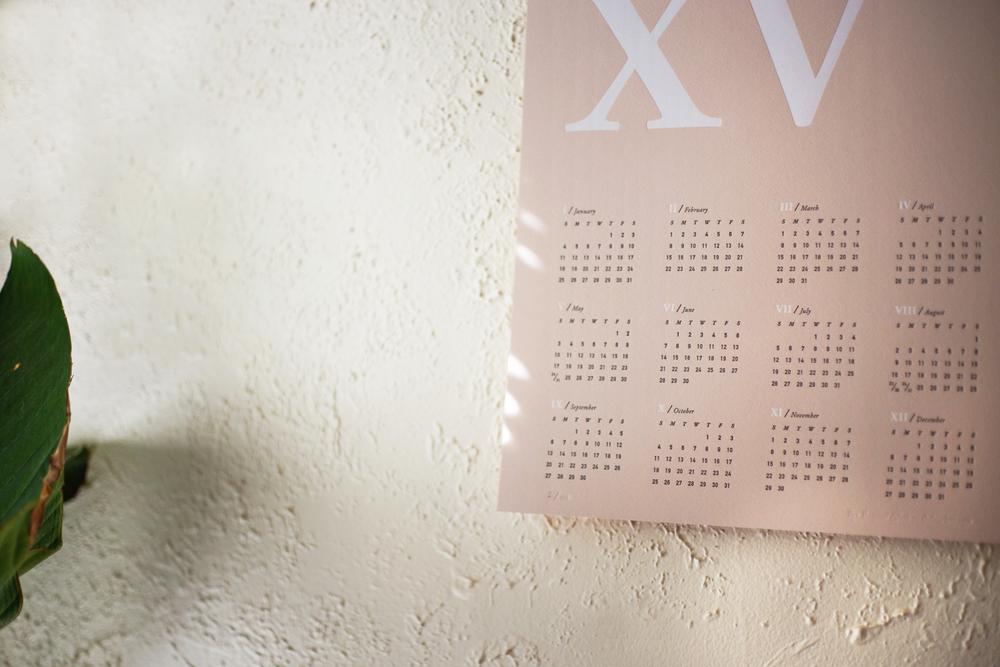 Chelsey Dyer — 2015 MMXV Letterpress Wall Calendar