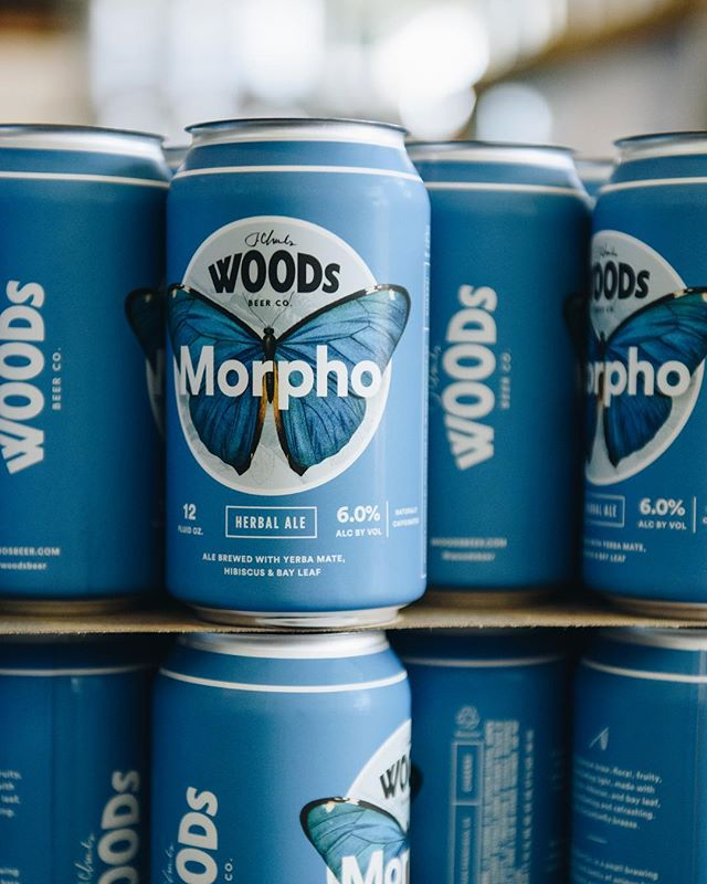 Packaging for one of Woods' flagship beers, Morpho 🦋 — a tart botanical brew made with yerba mate hibiscus, and bay leaf.  Ph: @allieforaker  #chelseydyerstudio