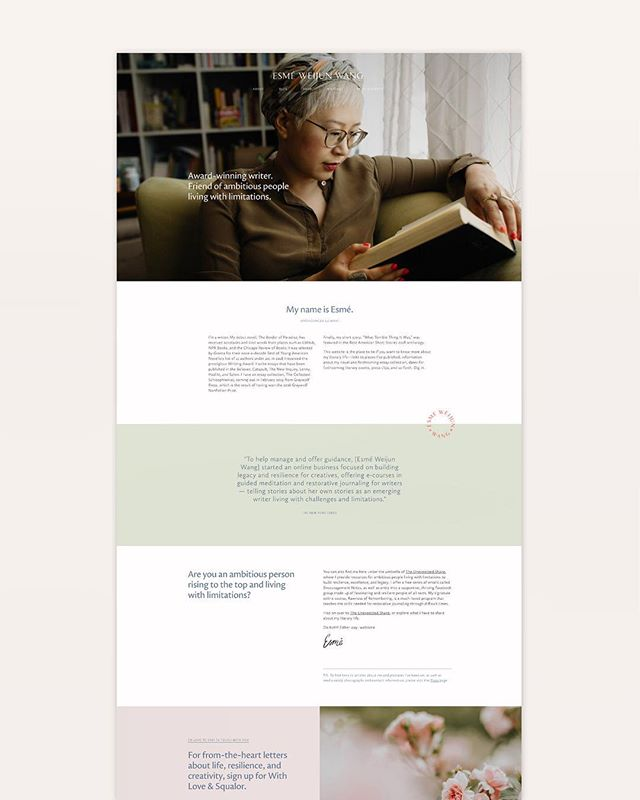 Getting so close to launching Esmé's new site! Here's a little peek at the home page in the meantime.