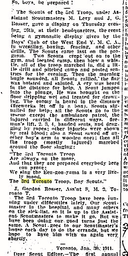 An article from the February 4, 1911 edition of the   Toronto Globe   newspaper.