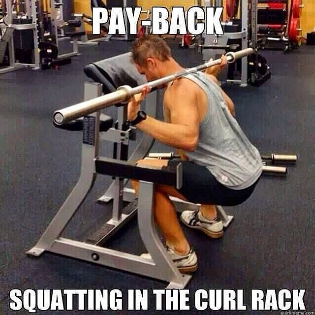 This is funny.  Curls in the squat rack is not.