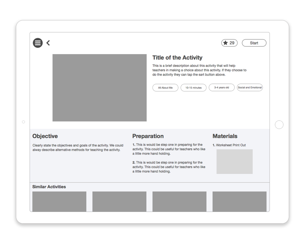 Activity detail wireframe