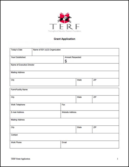 Grant Application TERF – Grant Application