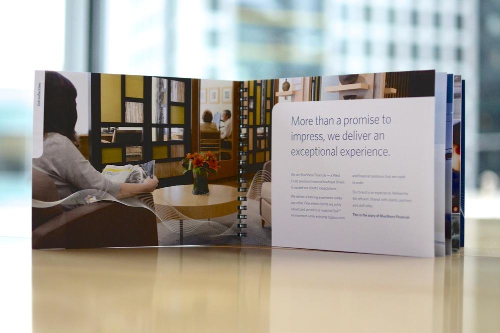 BlueShore Financial employee brand book.