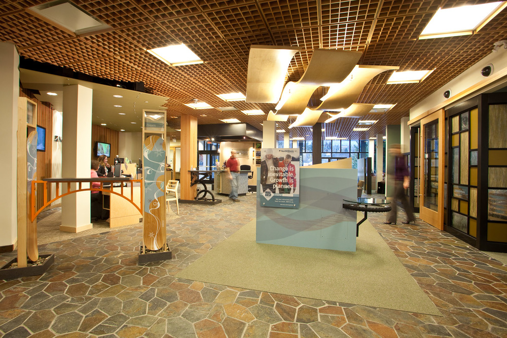 BlueShore Financial's Whistler branch reflects the world-class resort's outdoor passions of skiing, snowboarding and mountain biking.