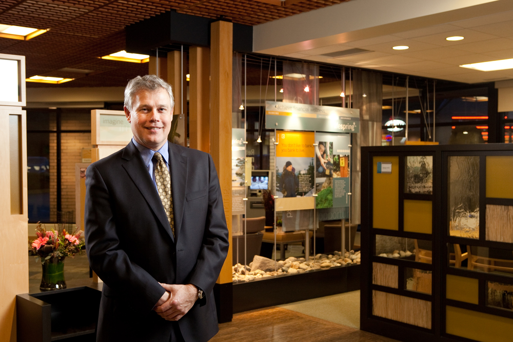 BlueShore Financial's President and CEO, Chris Catliff inside The Financial Spa.