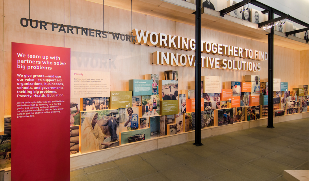 The Gates Visitor Center features brand engaging storytelling and displays to inspire corporate and personal philanthropy.
